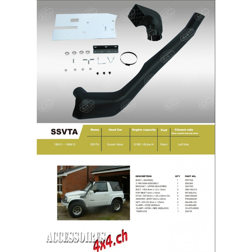 Snorkel Pour Suzuki Vitara Accessoires4x4 Ch